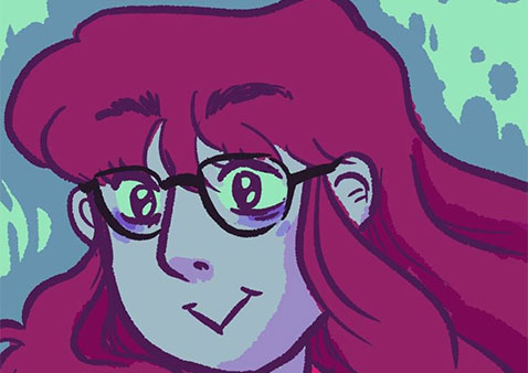 animated girl with red hair and glasses