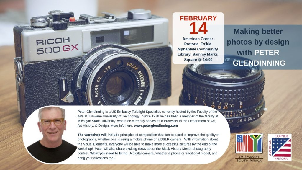 Flyer with a camera as the background and blurbs of text