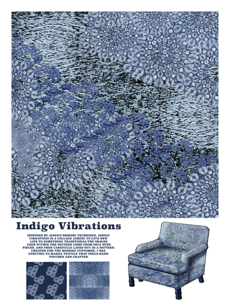 Indigo Vibrations design. Graphic of the chair design