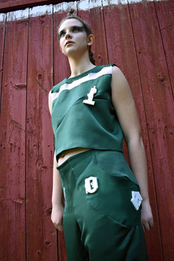 Photo of a green and white cheerleading costume