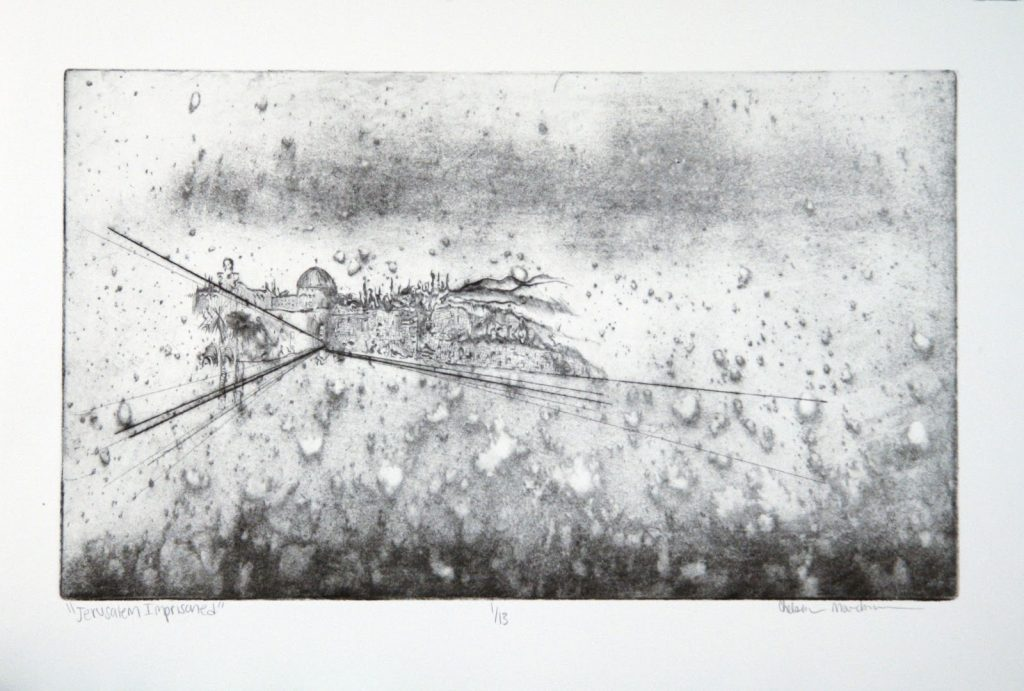 A painting in black and white