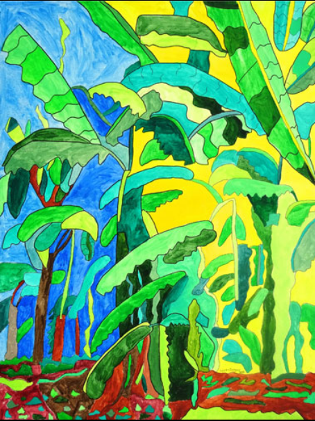 brightly colored depiction of tropical trees